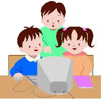 children at computer in class clipart ms